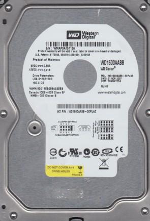 WD1600AABB-00PUA0, DCM EHNNNT2CA, Western Digital 160GB IDE 3.5 Hard Drive