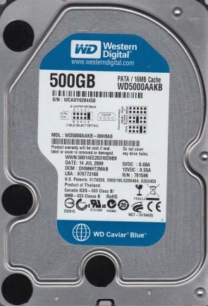 WD5000AAKB-00H8A0, DCM DHNNHT2MAB, Western Digital 500GB IDE 3.5 Hard Drive