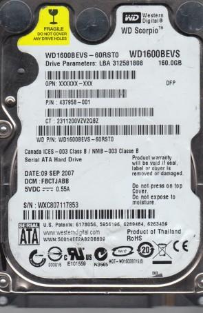 WD1600BEVS-60RST0, DCM FBCTJABB, Western Digital 160GB SATA 2.5 Hard Drive