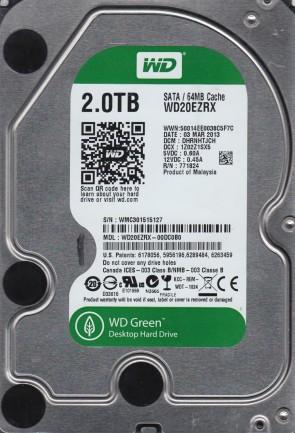 WD20EZRX-00DC0B0, DCM DHRNHTJCH, Western Digital 2TB SATA 3.5 Hard Drive