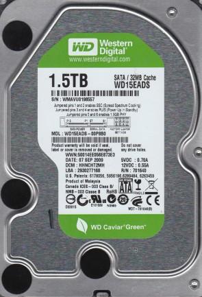 WD15EADS-00P8B0, DCM HHNCHT2MH, Western Digital 1.5TB SATA 3.5 Hard Drive