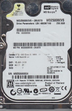 WD2500BEVS-26UST0, DCM HHYTJHBB, Western Digital 250GB SATA 2.5 Hard Drive