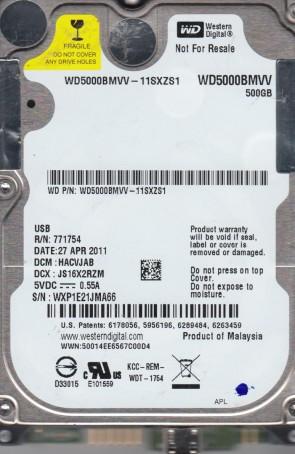 WD5000BMVV-11SXZS1, DCM HACVJAB, Western Digital 500GB USB 2.5 Hard Drive