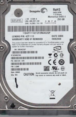 ST9250827AS, 5RG, WU, PN 9DG134-070, FW 3.CMF, Seagate 250GB SATA 2.5 Hard Drive