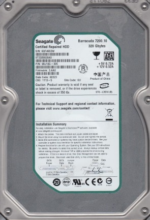 ST3320820AS, 6QF, SU, PN 9BJ13G-305, FW 3.AAE, Seagate 320GB SATA 3.5 Hard Drive