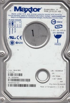 6B080P0, Code BAH41BM0, KGBA, Maxtor 80GB IDE 3.5 Hard Drive