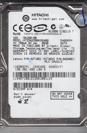 HTS542580K9SA00, PN 0A54881, MLC DA2212, Hitachi 80GB SATA 2.5 Hard Drive