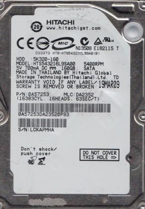 HTS543216L9SA00, PN 0A57253, MLC DA2352, Hitachi 160GB SATA 2.5 Hard Drive