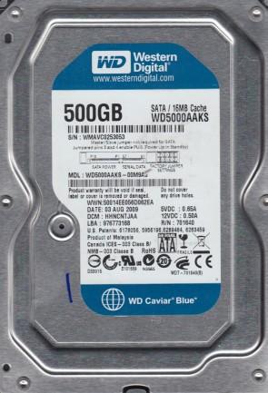 WD5000AAKS-00M9A0, DCM HHNCNTJAA, Western Digital 500GB SATA 3.5 Hard Drive