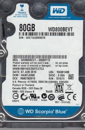 WD800BEVT-00M9YT0, DCM HANTJHNB, Western Digital 80GB SATA 2.5 Hard Drive