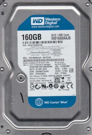 WD1600AAJS-00YZCA0, DCM HGRNHT2AGN, Western Digital 160GB SATA 3.5 Hard Drive