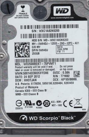 WD2500BEKT-75PVMT1, DCM HHOTJAN, Western Digital 250GB SATA 2.5 Hard Drive