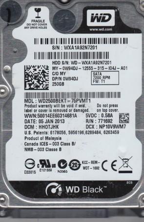 WD2500BEKT-75PVMT1, DCM HHOTJHK, Western Digital 250GB SATA 2.5 Hard Drive