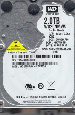 WD20NMVW-11W68S0, DCM HHCVJHBB, Western Digital 2TB USB 2.5 Hard Drive