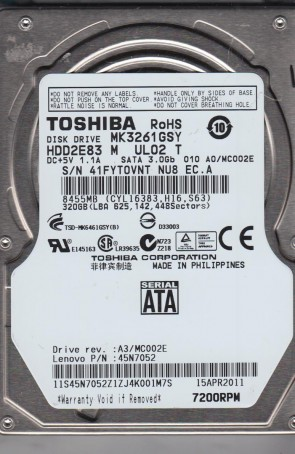 MK3261GSY, A0/MC002E, HDD2E83 M UL02 T, Toshiba 320GB SATA 2.5 Hard Drive