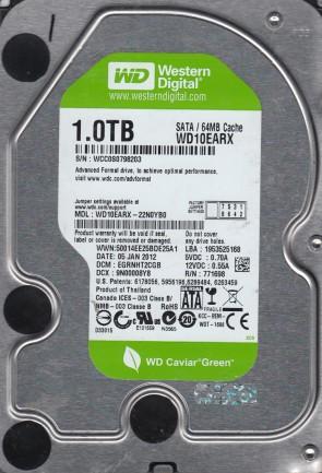 WD10EARX-22N0YB0, DCM EGRNHT2CGB, Western Digital 1TB SATA 3.5 Hard Drive