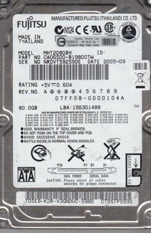 MHT2080BH, PN CA06500-B19800TW, Fujitsu 80GB SATA 2.5 Hard Drive