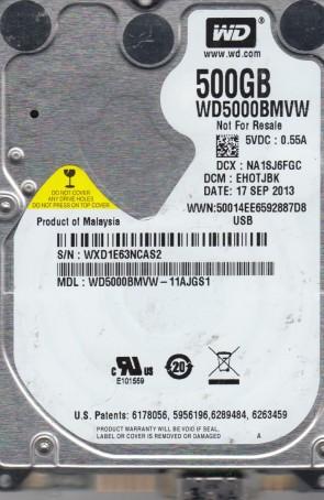 WD5000BMVW-11AJGS1, DCM EHOTJBK, Western Digital 500GB USB 2.5 Hard Drive