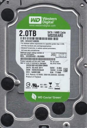 WD20EARS-00J99B0, DCM HARCHV2AAB, Western Digital 2TB SATA 3.5 Hard Drive