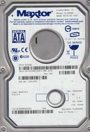 6L080M0, Code BACE1G10, NMGA, Maxtor 80GB SATA 3.5 Hard Drive