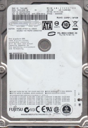 MHZ2160BH G2, PN CA07018-B056, Fujitsu 160GB SATA 2.5 Hard Drive