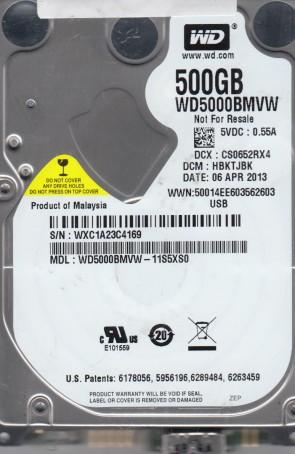 WD5000BMVW-11S5XS0, DCM HBKTJBK, Western Digital 500GB USB 2.5 Hard Drive