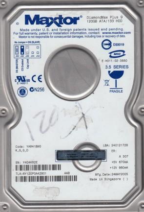 6Y120P0, Code YAR41BW0, KGGD, Maxtor 120GB IDE 3.5 Hard Drive