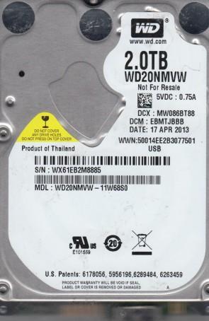 WD20NMVW-11W68S0, DCM EBMTJBBB, Western Digital 2TB USB 2.5 Hard Drive