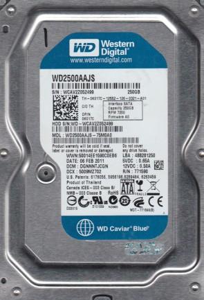 WD2500AAJS-75M0A0, DCM DGNNNTJCGN, Western Digital 250GB SATA 3.5 Hard Drive