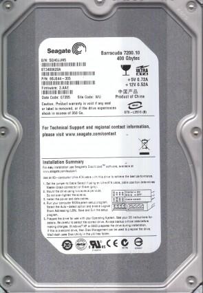 ST3400620A, 5QH, WU, PN 9BJ044-305, FW 3.AAE, Seagate 400GB IDE 3.5 Hard Drive